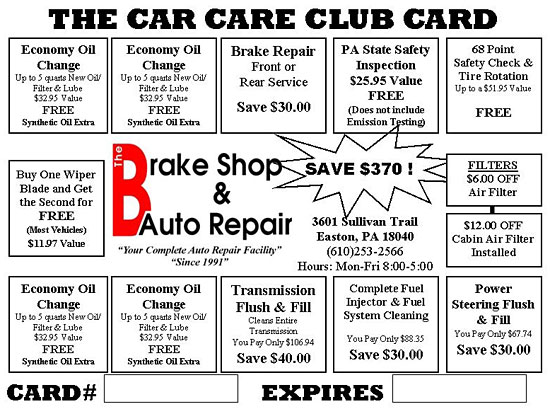 Brake shop and auto repair car care club card add up all the savings and youll find that you could easily save up to 37000 over the next year but even if you didnt use all the service on the card sciox Images
